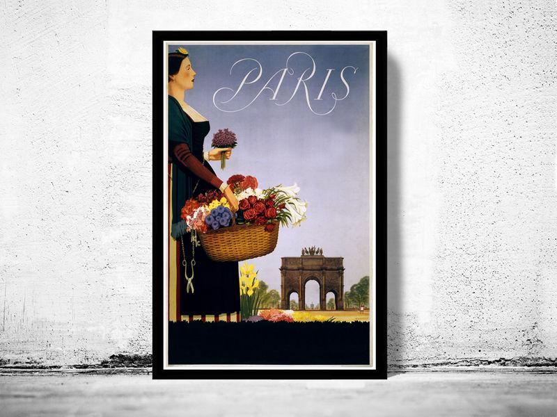 vintage poster of paris france 1950 tourism poster travel old maps and vintage prints. Black Bedroom Furniture Sets. Home Design Ideas
