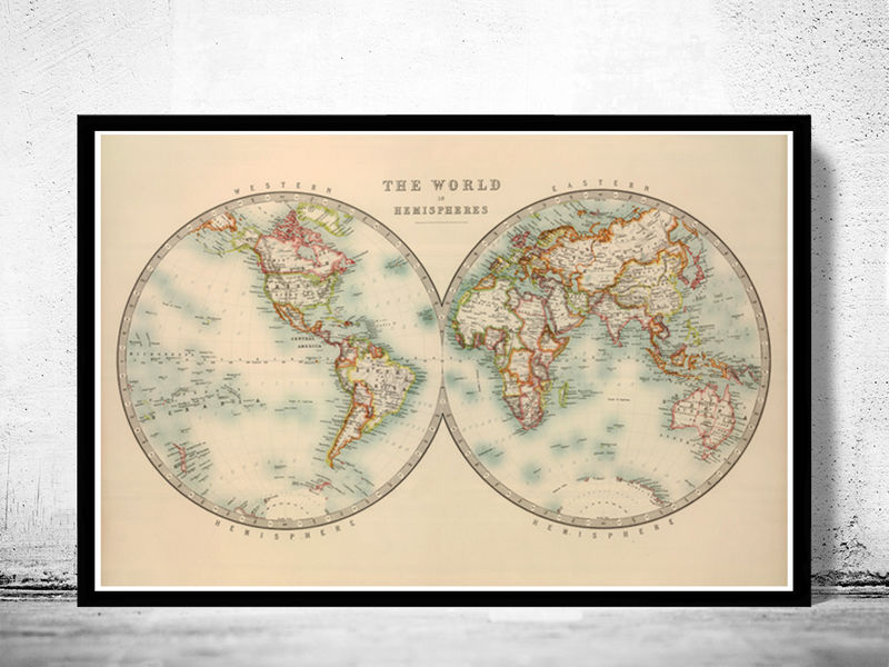 old world map atlas vintage world map 1912 two hemispheres product image