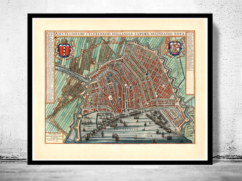 Old Map Of Amsterdam Netherlands Engraving OLD MAPS AND - Amsterdam old map