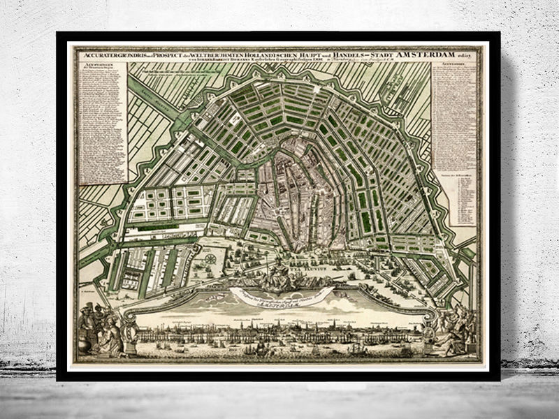 Old Map Of Amsterdam Netherlands Antique Vintage Map OLD - Antique maps amsterdam