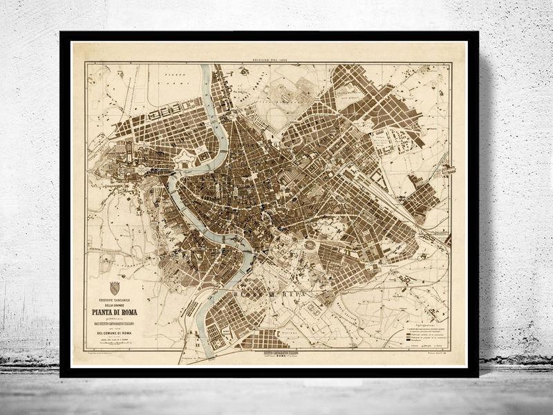 Old map city plan of rome roma italia 1892 antique vintage italy old map city plan of rome roma italia 1892 antique vintage italy product image gumiabroncs Choice Image