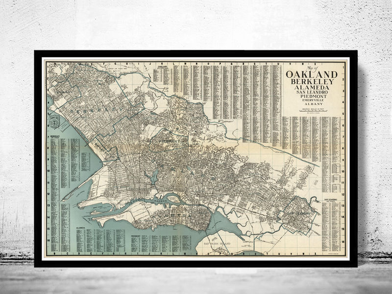Old map oakland alameda berkeley san leandro old maps and vintage old map oakland alameda berkeley san leandro old maps and vintage prints publicscrutiny Image collections