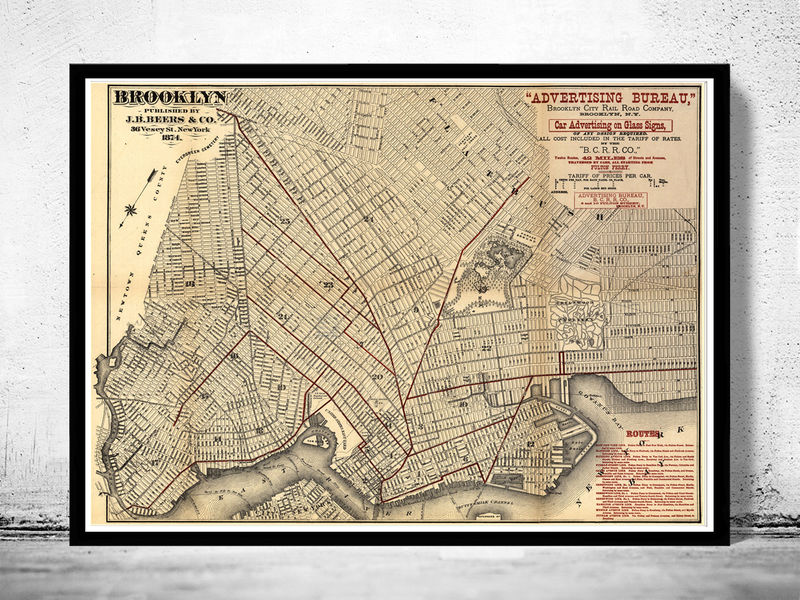 Old Map Of Brooklyn OLD MAPS AND VINTAGE PRINTS - Old map of the us