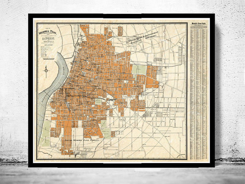 Vintage map of Memphis Tennessee 1911 - OLD MAPS AND VINTAGE PRINTS