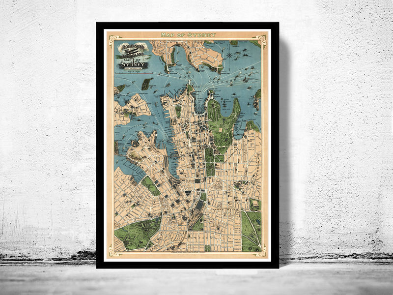 Old map of sydney australia 1922 vintage map old maps and vintage old map of sydney australia 1922 vintage map product image gumiabroncs Images