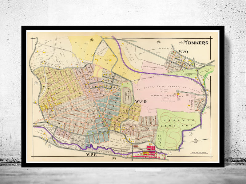Vintage Map of Yonkers New York 1907 OLD MAPS AND VINTAGE PRINTS