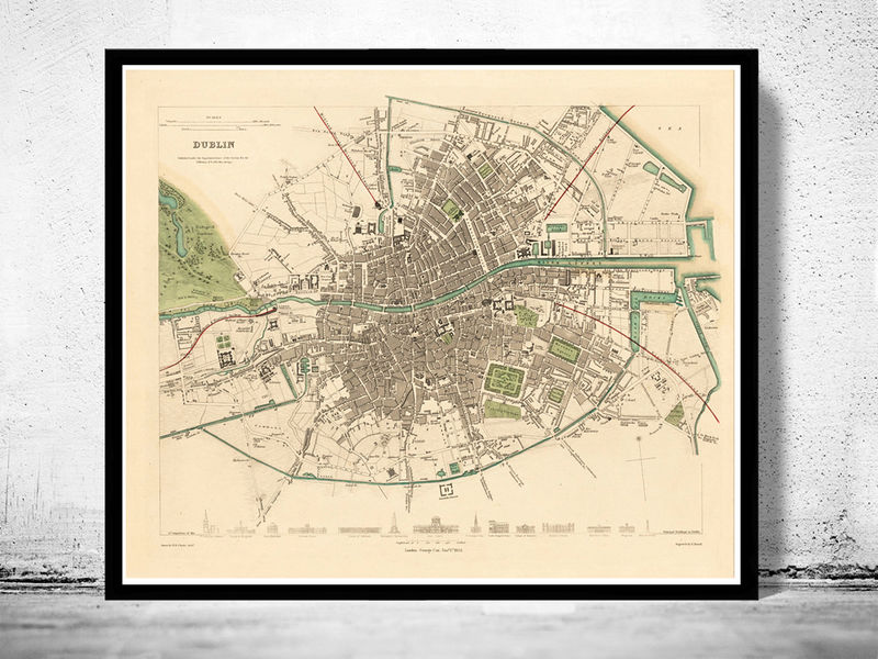 Vintage Map Of Dublin Ireland OLD MAPS AND VINTAGE PRINTS - Old maps of dublin