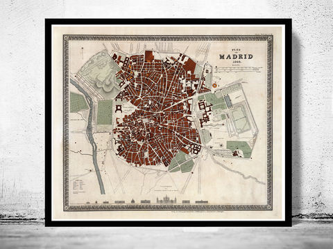 Beautiful,Old,Map,of,Madrid,1844,Spain,Espana,Art,Reproduction,Open_Edition,gravure,vintage_map,city_plan,spain,old_map,map_of_madrid,mapa,plano,mapa_de_madrid,old_map_of_madrid,madrid_plan