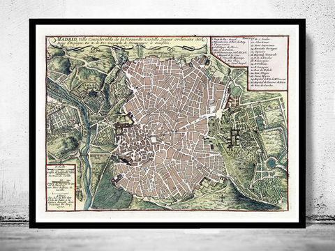 Old,Map,of,Madrid,with,gravures,,Spain,Espana,1717,Vintage,Art,Reproduction,Open_Edition,gravure,vintage_map,city_plan,spain,old_map,map_of_madrid,mapa,plano,mapa_de_madrid,old_map_of_madrid,madrid_plan,spain_map