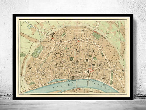 Old,Map,of,Koln,Cologne,,Germany,1910,koln map, map of koln, koln germany, cologne, koln poster,old maps for sale, buy map, maps reproductions, map shop,  antique map,antique, map