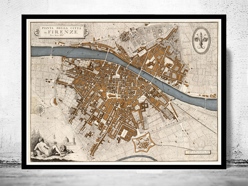 Old map of florence firenze 1847 italy old maps and vintage prints old map of florence firenze 1847 italy product image gumiabroncs Choice Image