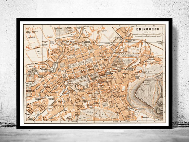 Old Map Of Edinburgh Scotland OLD MAPS AND VINTAGE PRINTS - Antique maps for sale australia