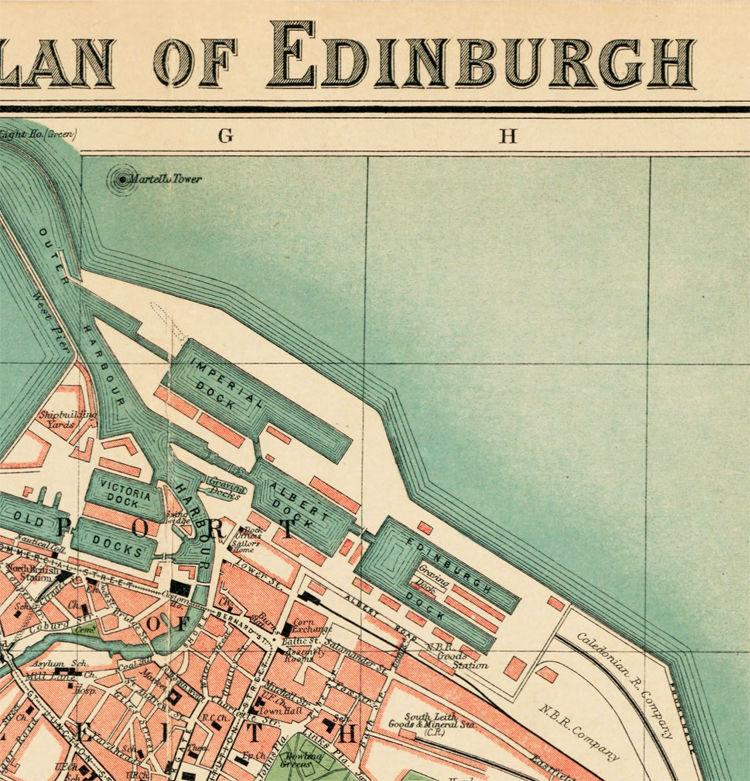 Old Map of Edinburgh 1901 Edinbourg with gravures, Scotland - OLD ...
