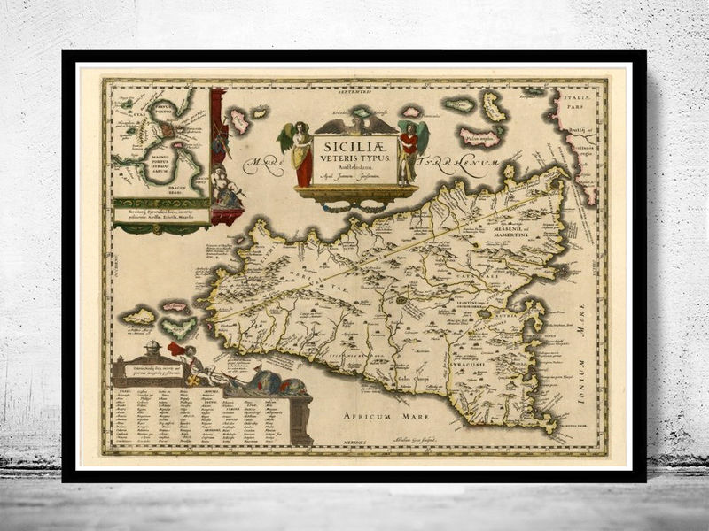 Old map of sicily sicilia italy 1600 old maps and vintage prints old map of sicily sicilia italy 1600 product image gumiabroncs Choice Image