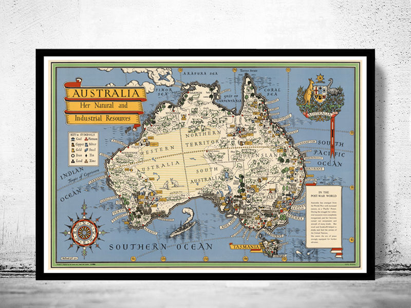 Old map australia oceania new zealand antique 1946 vintage map old map australia oceania new zealand antique 1946 vintage map product image gumiabroncs Choice Image