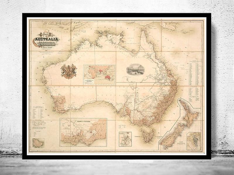 Old map australia oceania new zealand antique 1857 vintage map old old map australia oceania new zealand antique 1857 vintage map product image gumiabroncs Gallery