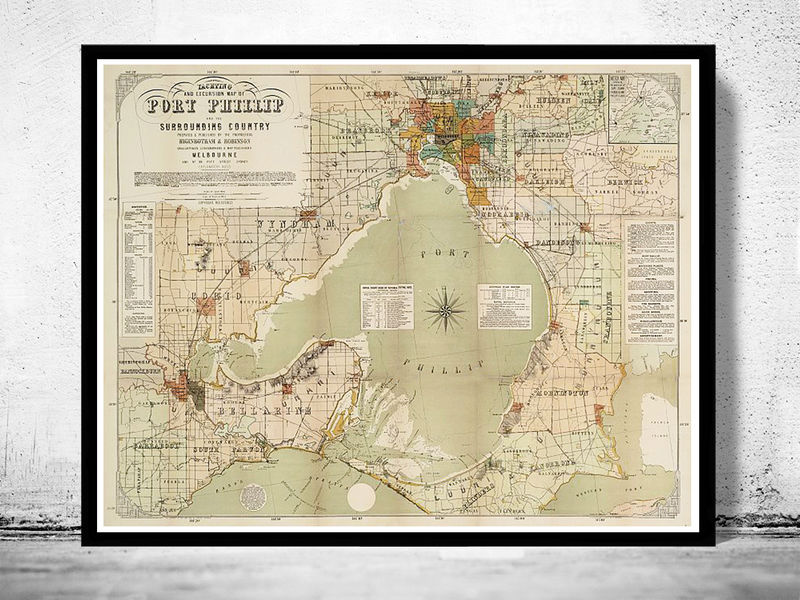 Vintage map of port phillip and melbourne bay australia 1886 old vintage map of port phillip and melbourne bay australia 1886 product image gumiabroncs Gallery