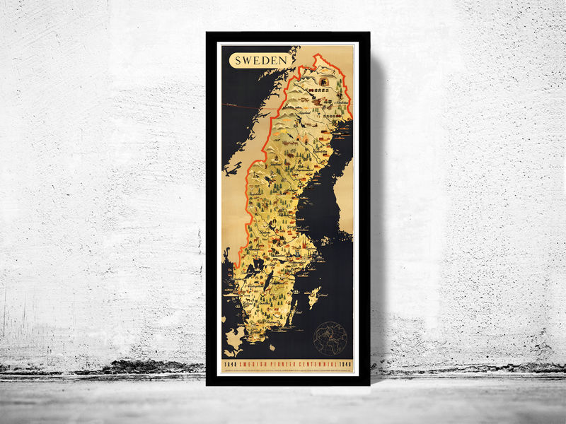 Old Map Of Sweden Pionner Centennial Vintage Poster OLD MAPS AND - Sweden map poster