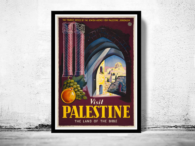 Vintage Poster Of Palestine 1920 Tourism Travel