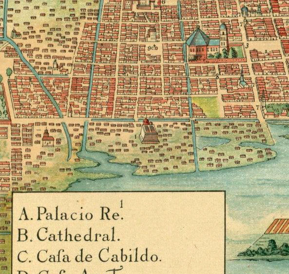 old map of mexico city mexico 1628 product image