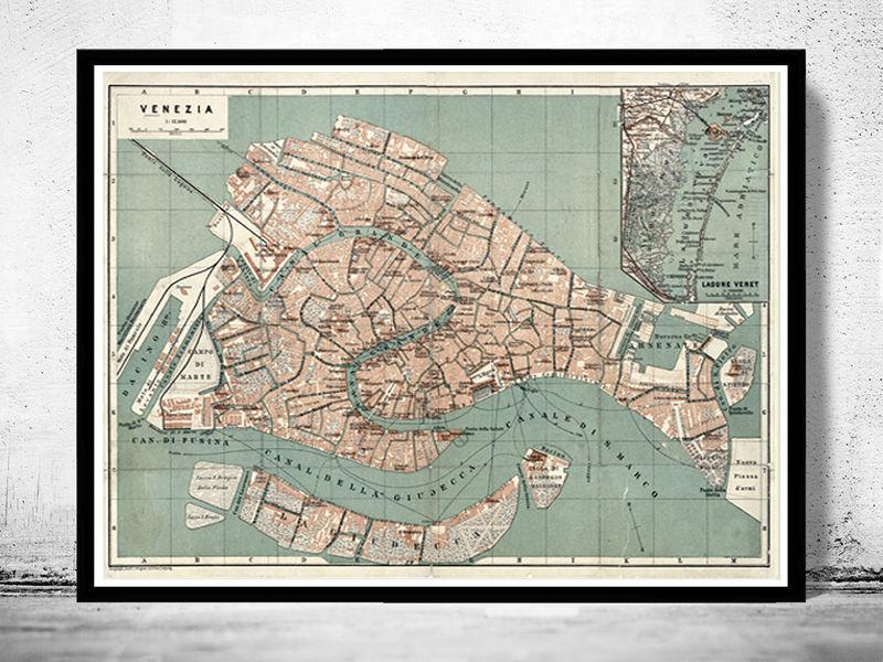 Vintage Old Map Of Venice Venetia Venezia Italy 1886 Old Maps