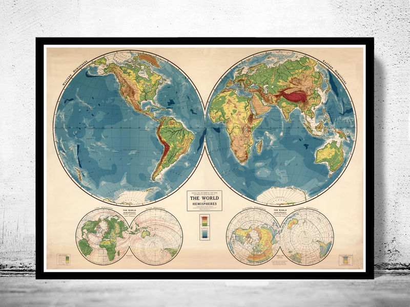 Vintage world map 1917 mercator projection old maps and vintage prints vintage world map 1917 mercator projection product image gumiabroncs