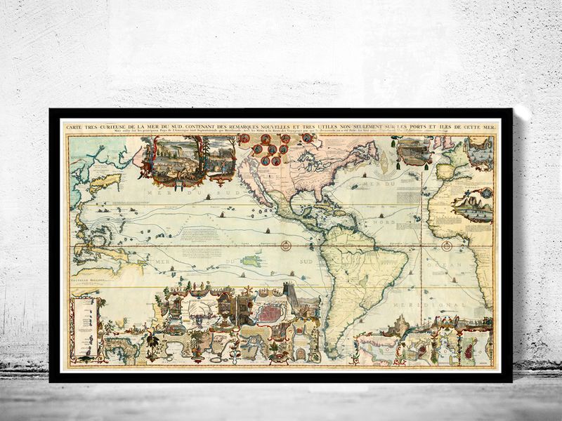 Old world map 1719 new discoveries old maps and vintage prints old world map 1719 new discoveries product image gumiabroncs Images