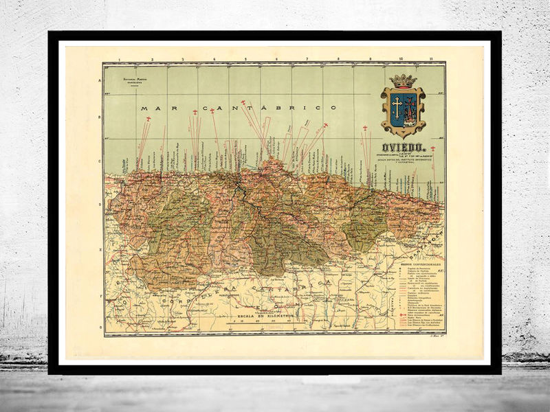 Old Map Of Oviedo Asturias 1900 Spain Old Maps And Vintage Prints