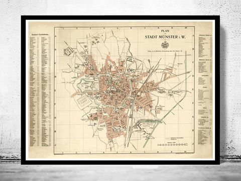 Old,Map,of,Munster,Munich,Germany,Deutshland,1913,munich map, map of munich, old map munich, munchen, munster, munster poster, munster germany, old map, deutshland, germany, munster map, map of munster
