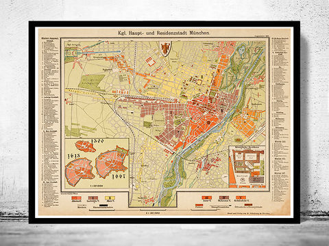 Old,Map,of,Munich,Munchen,with,gravures,,Germany,1890,Art,Reproduction,Open_Edition,vintage,illustration,gravure,vintage_map,city_plan,germany,munich,munchen,deutshland,1844,old_map,city_map