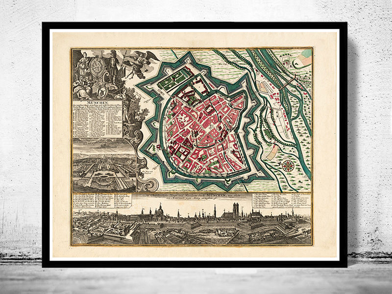 old map of munster munich germany deutshland 1740 old. Black Bedroom Furniture Sets. Home Design Ideas