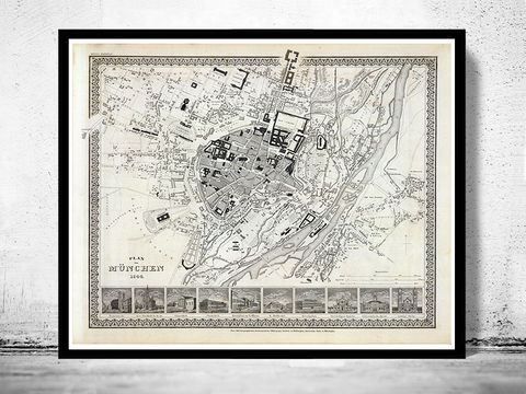 Old,Map,of,Munich,Munchen,with,gravures,,Germany,Deutshland,1844,Vintage,Art,Reproduction,Open_Edition,vintage,illustration,gravure,vintage_map,city_plan,germany,munich,munchen,deutshland,old_map,city_map