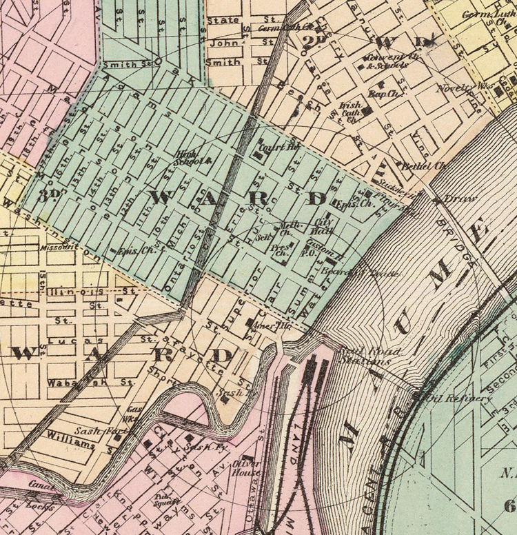 Toledo Ohio 1872 Old map antique map OLD MAPS AND VINTAGE PRINTS