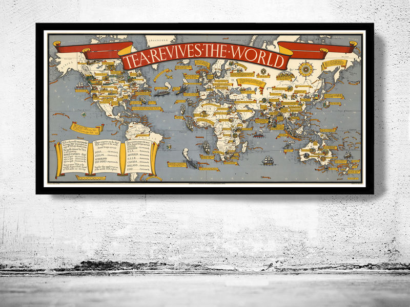 Vintage world map thematic tea market expansion old maps and vintage world map thematic tea market expansion product image gumiabroncs Gallery