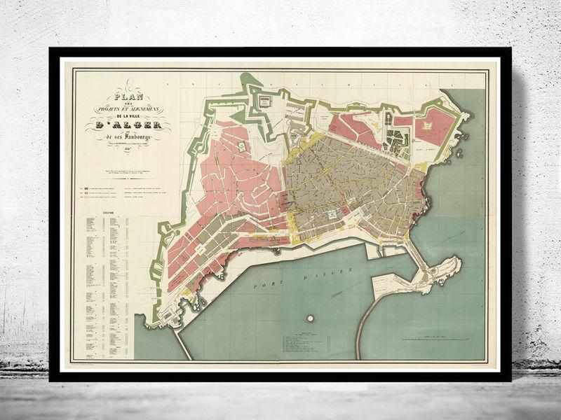 Old Map of Algiers Alger 1847 Vintage map OLD MAPS AND VINTAGE PRINTS