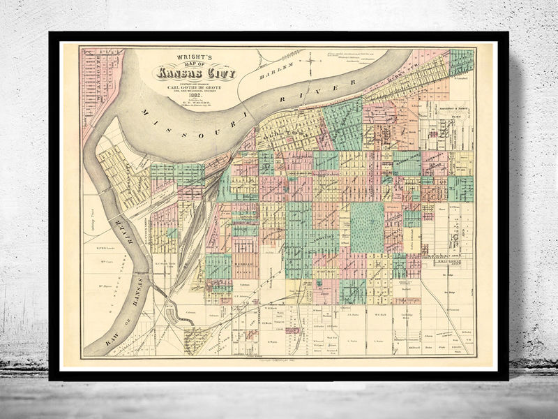 Vintage map of kansas city missouri 1882 old maps and vintage prints vintage map of kansas city missouri 1882 product image gumiabroncs Image collections