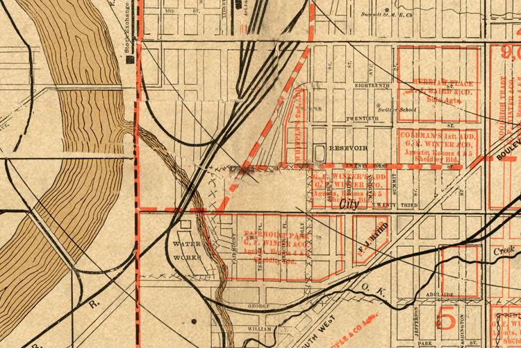 Vintage map of Kansas City, Missouri, 1886
