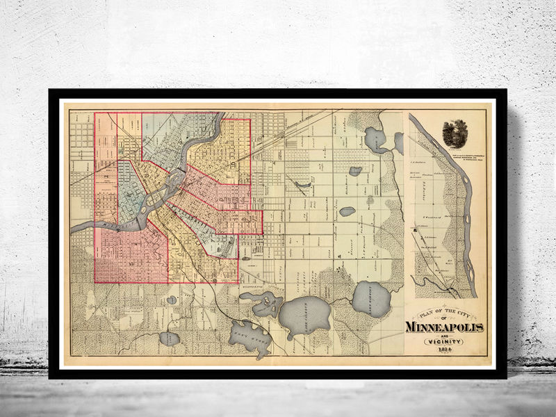 Old Map Of Minneapolis OLD MAPS AND VINTAGE PRINTS - Vintage minneapolis map