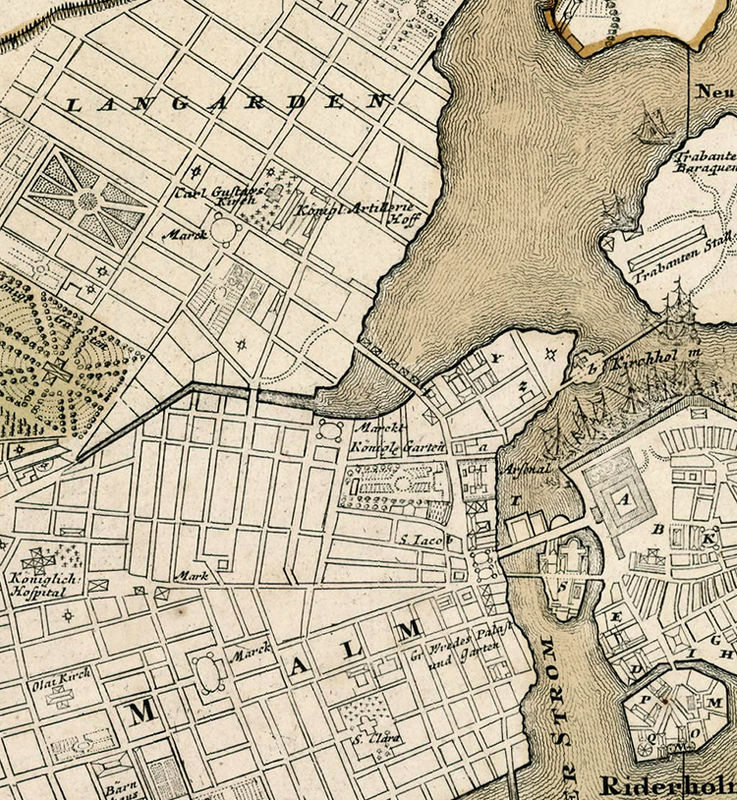 Old Map of Stockholm Sweden 1720 OLD MAPS AND VINTAGE PRINTS