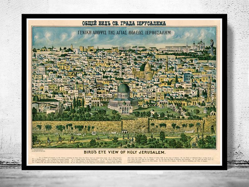 Old map of jerusalem holy land palestine engraving 1900 old maps old map of jerusalem holy land palestine engraving 1900 product image gumiabroncs Choice Image