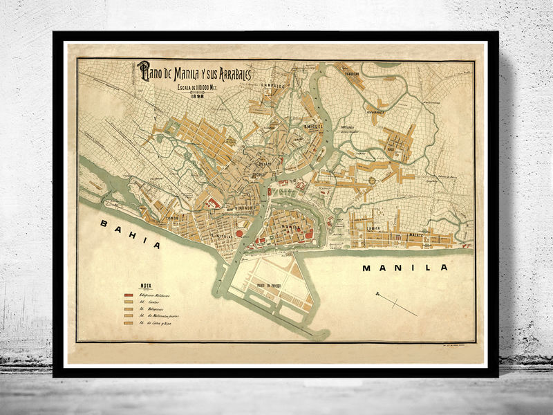 Old Map of Manila Philippines 1898 OLD MAPS AND VINTAGE PRINTS