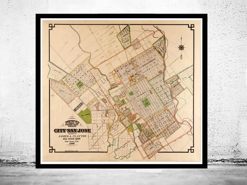 Old Map of San Jose, California 1886 - OLD MAPS AND VINTAGE PRINTS