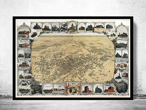 Birdseye,View,Vintage,Map,of,Fresno,California,1901,Art,Reproduction,Open_Edition,United_States,panoramic_view,gravure,urban,birdseye,vintage_map,fresno,california,old_map,vintage_poster,city_plan,old_gravure