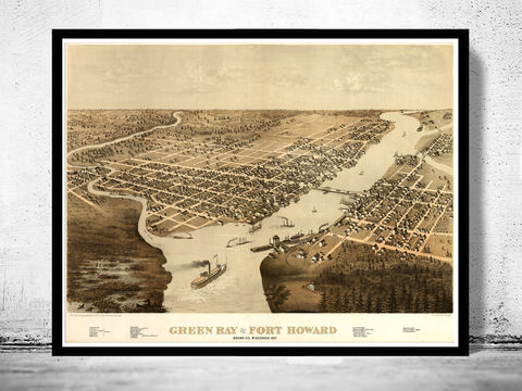 Green,Bay,Fort,Howard,Wisconsin,1867,Panoramic,View,Vintage,green bay, map of green bay, green bay city, green bay map, green bay wisconsin, fort howard, panoramic view, birdseye, maps and prints, old map