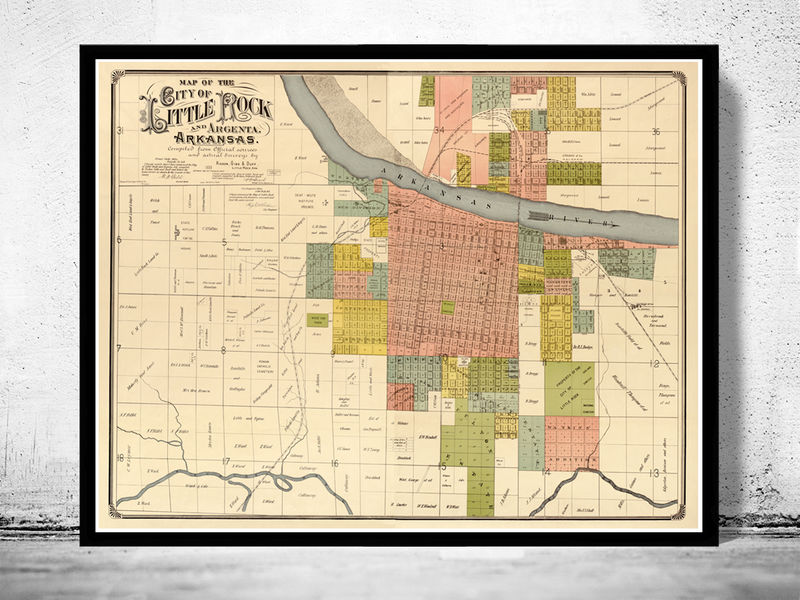 Old Map of Little Rock, Arkansas 1882 - OLD MAPS AND VINTAGE PRINTS