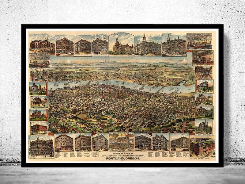 Vintage Oregon Map.Portland Oregon 1892 Panoramic View Vintage Old Maps And Vintage