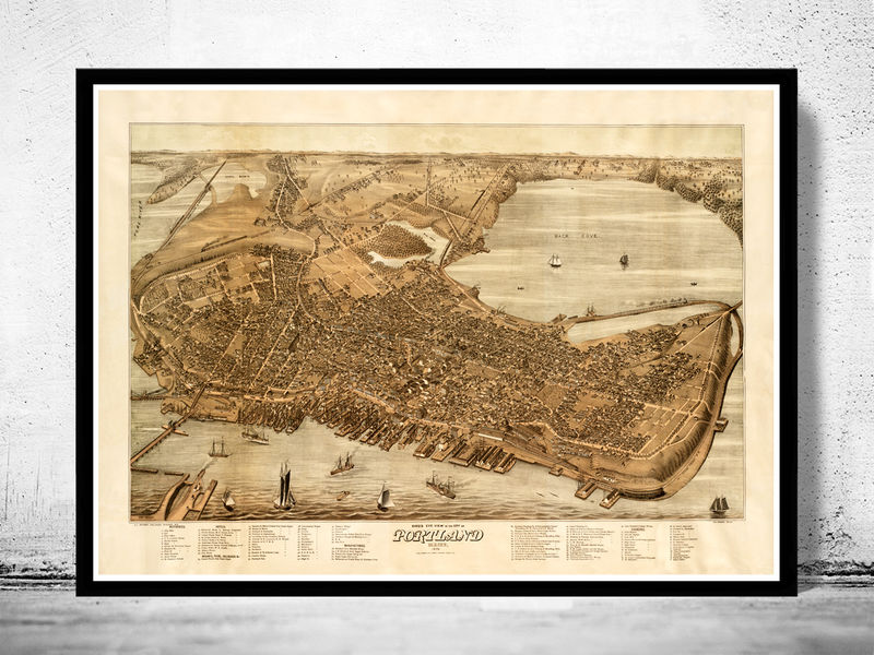 Beautiful Old Map Of Portland Maine OLD MAPS AND VINTAGE PRINTS - Antique map of maine
