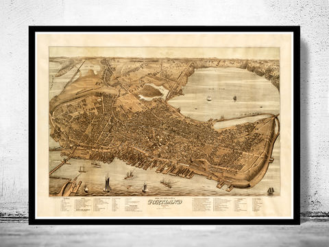 Beautiful,Old,Map,of,Portland,Maine,1876,portland me, portland, portland maine, portlan map, map of portland, portland map,vintage_poster