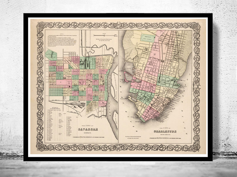 Vintage Map Of Savannah And Charleston GA Georgia United - Old savannags in us map