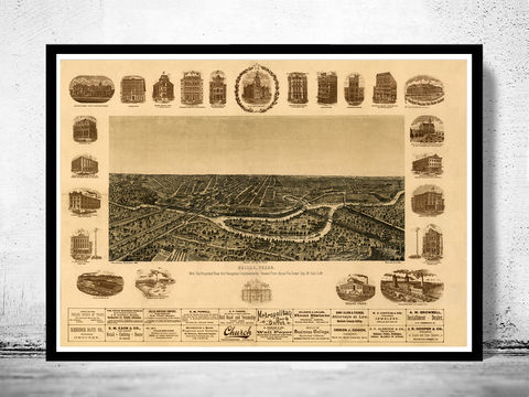 Dallas,Texas,Old,Panoramic,View,1892,panoramic view  , birdseye , vintage map  , old map  , dallas poster, dallas, dallas texas, dallas map, map of dallas, dallas vintage, dallas gift, old map of dallas